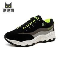 2015秋季新款低帮运动鞋女单鞋 松糕跟厚底休闲鞋系带拼色跑步鞋
