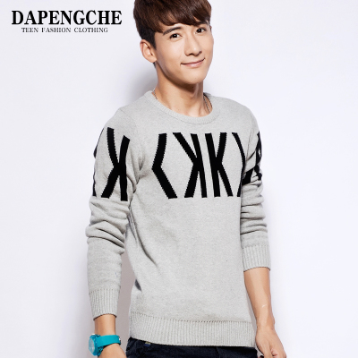 Men's round neck sweater thick sweater hedging adolescent male Korean winter cotton sweater student tide null