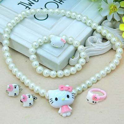 Children necklace 5 sets baby girls KT necklace jewelry accessories princess candy color bead necklace + bracelet