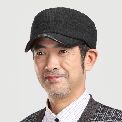 Elderly man hat flat cap autumn and winter sports in older men wool fedora hat ear warm father