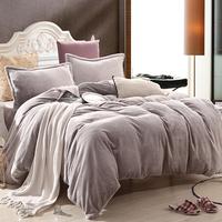 床上用品纯色韩版法莱绒法兰绒加厚四件套冬珊瑚绒床单式简约被套