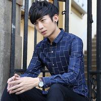 菲诺德品牌男装秋季男式衬衫青年韩版休闲格子长袖尖领学生上衣潮