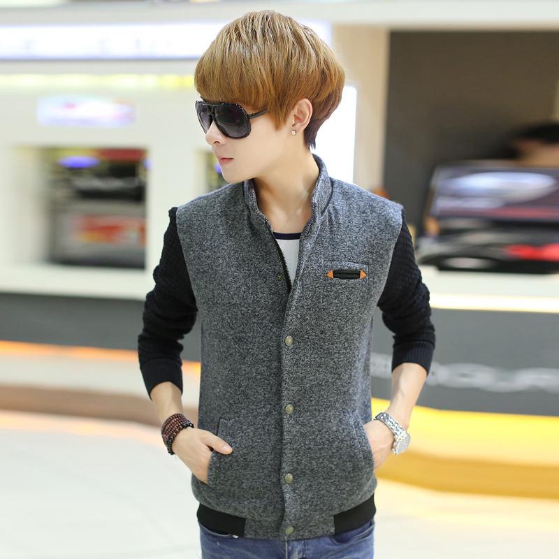 2015春季韩版修身男士新款针织袖大衣 青少年男生毛呢风衣潮