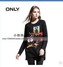 ONLY2014 new winter couture head round collar printed long knitting coat T114333026 owl
