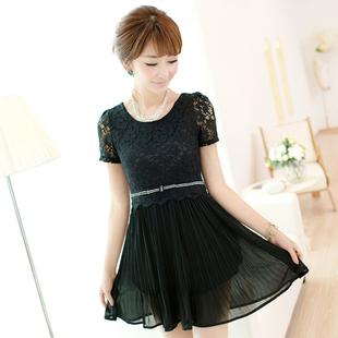 2014春夏装日系甜美雪纺蕾丝拼接大码高腰气质短袖连衣裙