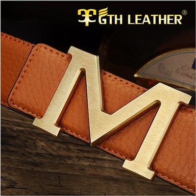 Men really Pippi lead layer of smooth leather belt buckle fashion business casual Korean version of the belt buckle M Young