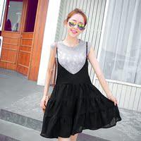 2015夏装新款 可爱卡通印花T恤 吊带裙修身显瘦层次 A字裙两件套