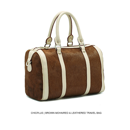 chicplus | Brown Mohaired & Leathered Travel Bag 马毛旅行包