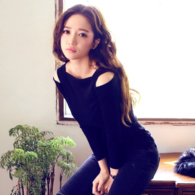 Autumn black strapless shirt collar long-sleeved t-shirt Slim Sexy female models Korean Fan Modal bottoming shirt female