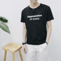 2017夏新男装领修身优质精梳棉 短袖T恤上衣英文印花体恤ice潮装