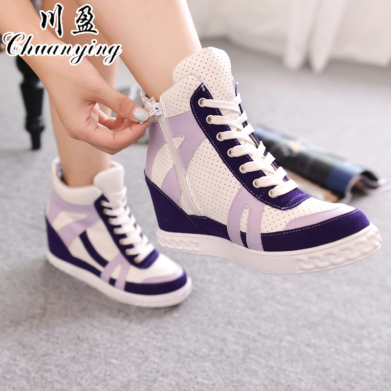 New PU Ying Chuan splicing within high-top canvas shoes increased drilling College Wind breathable autumn casual shoes