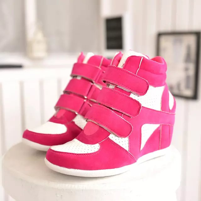 Fall 2014 new Korean version of the influx in the increased movement of Velcro shoes spell color high shoes casual shoes women shoes