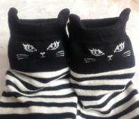 秋冬新品喵星人猫咪黑白条纹棉袜爆款韩系日本立体猫耳朵可爱女袜