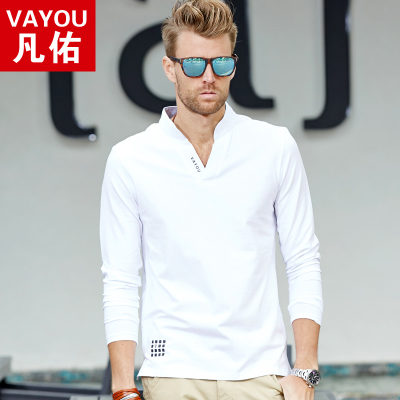 Fall 2014 Men's Youth thin section Qiuyi shirt loose cotton casual men's V-neck long-sleeved t-shirt Slim tide