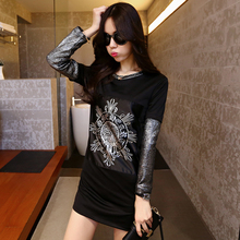 Europe and the United States the streets wind of new fund of 2015 spring cotton long sleeve splicing package hip show thin render skirt skirt T women dress