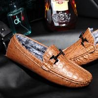 冬季韩版男士真皮保暖潮鞋鳄鱼纹皮鞋豆豆鞋男加绒休闲鞋懒人男鞋