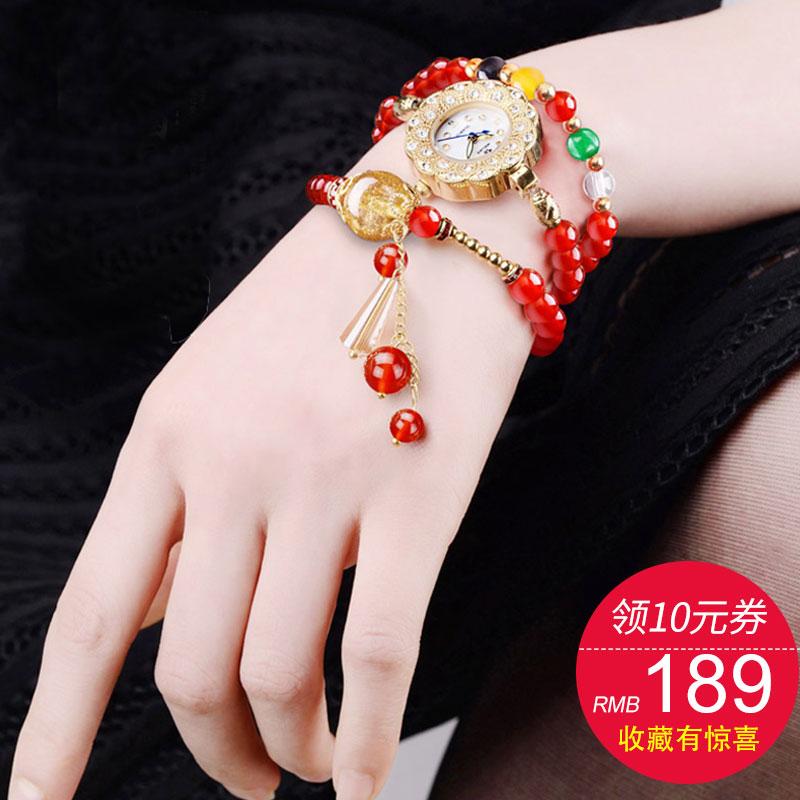 维加斯正品手链手表玛瑙防水手表女表 韩版时尚潮流石英女士手表