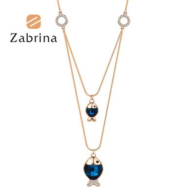 Zabrina accessories Korean fashion clown fish long female double color crystal joker sweater chain necklace