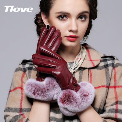 tlove autumn and winter high-grade sheepskin Ms. Ling Gepi cute Korean Rex wool gloves leather gloves thicker