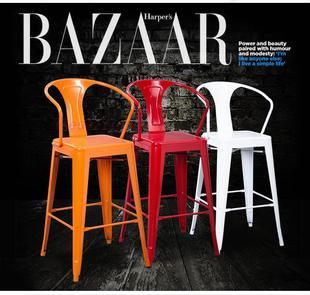 时尚金属靠背吧台椅高脚凳酒吧椅工业凳子铁艺铁皮餐椅loft复古