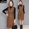 秋季复古条纹一月背心裙中长款显瘦女高腰背带连衣裙