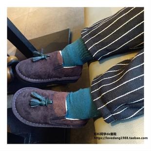 韩儿童加绒加厚棉鞋女童流苏软底雪地靴男宝一脚蹬保暖豹纹豆豆鞋