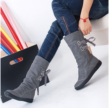 Boots in autumn and winter leisure shoes flat increased with the knights of cotton shoes boots students 34 large size 40-43 female boots
