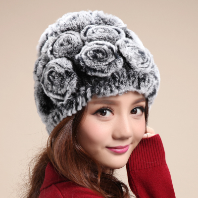 Rex caps children winter fur hat lady models mom hat hat hat old hat in the elderly