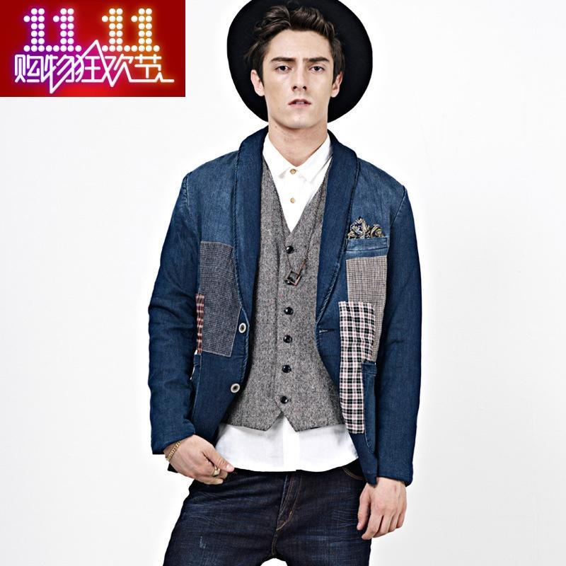 飞鹰城堡秋冬新款复古补丁牛仔西服男版休闲贴布英伦牛仔西装外套
