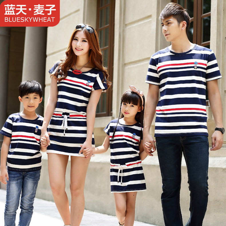 A three Family fitted summer full decoration Korean mother and children four striped T shirt women dress sub tide