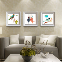Love greetings Sanlian pure and fresh and simple decoration High-grade cartoon illustration Framed picture Thousand paintings reflected in