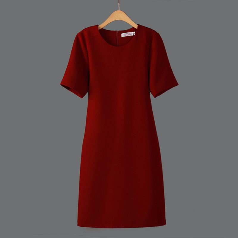 2016夏季新款棉麻直筒连衣裙中长款修身显瘦纯色透气宽松休闲女装