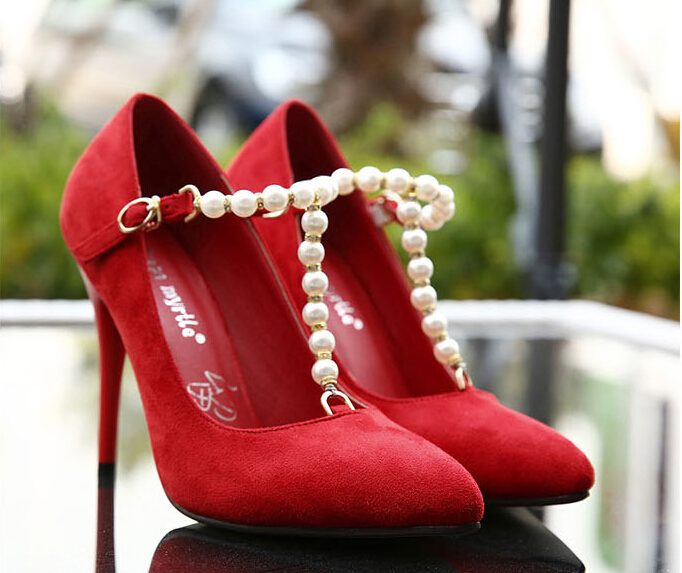 2015 spring new diamond crystal pearl suede high heels shoes Korea princess fine with sexy shoes wedding shoes