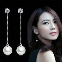 韩国流苏气质925纯银长款防过敏纯银时尚珍珠耳链耳线女耳坠耳环