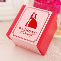 花半里 欧式树脂喜糖盒创意结婚用品婚庆粉红色糖果盒子个性糖盒