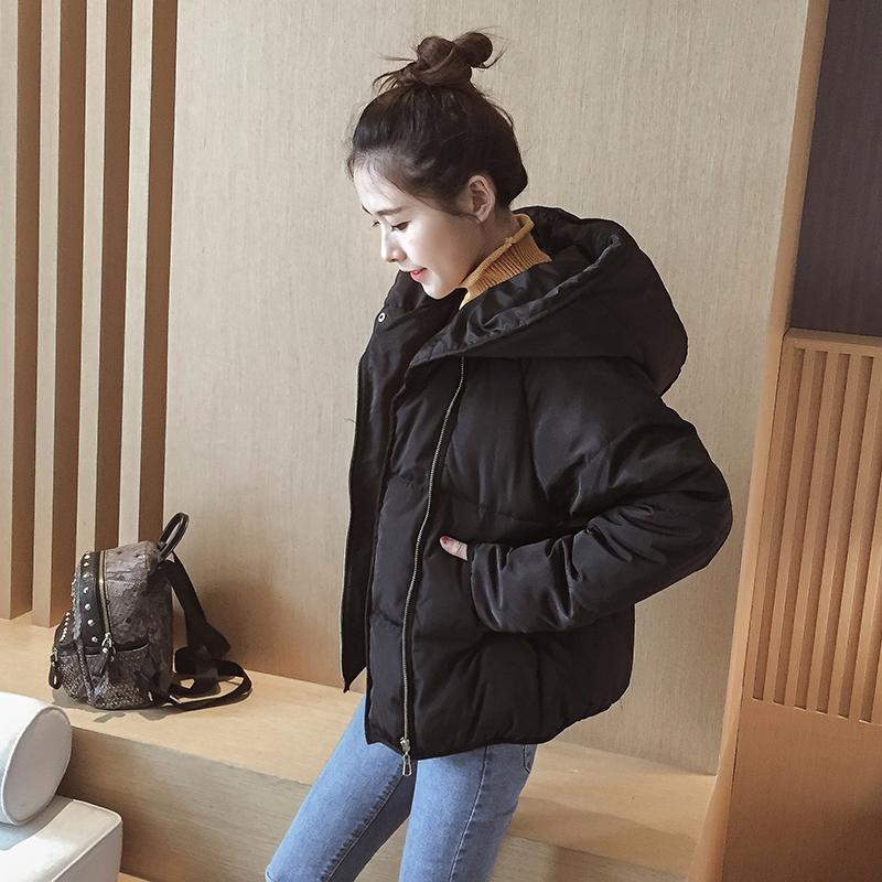 唯莳2016冬季新款韩版短款棉服女修身斜拉链连帽棉衣棉袄外套女装