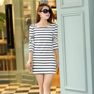 2014型秋季长袖纯棉打底衫t恤女款中长款白黑色条纹
