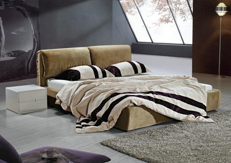 北欧宜家 实木双人床1.8米 布艺床浅黄色 绒布床 现代简约1.5米床