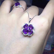 Method love silver platinum plating South African violet heart-shaped splicing Amethyst lucky clover pendant
