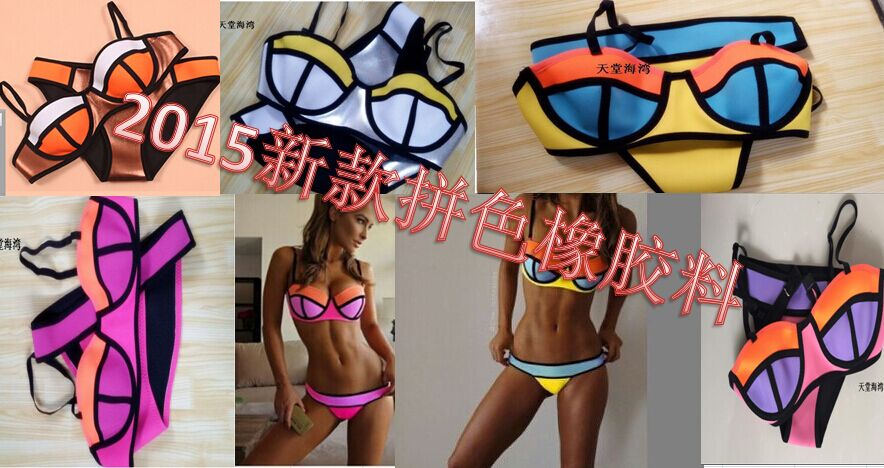 2015 New TRIANGL-BIKINI swimsuit bikini neoprene colored neon neoprene