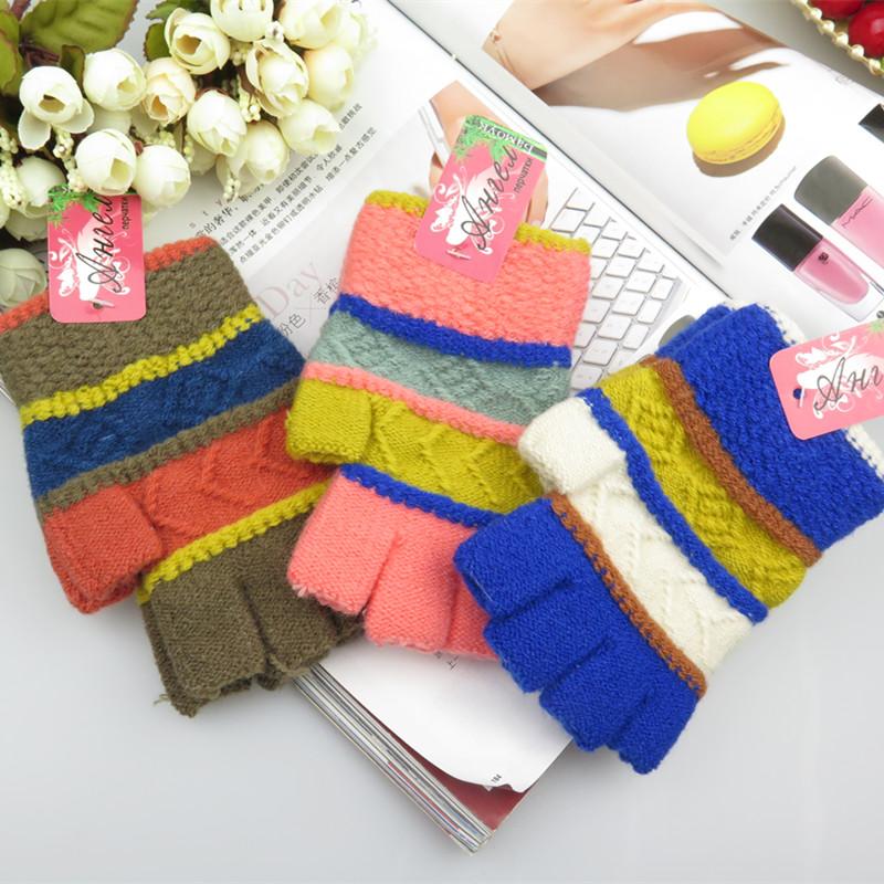 正品打折手套女生冬可爱女士露指韩版冬季保暖手套半