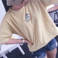 米奇纯棉卡通韩国卡通t恤女潮范宽松闺蜜装百搭减龄圆领印花T恤