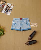 女装|专柜399元 糖果色 时尚精品 卷边 纯棉 牛仔短裤热裤 3色