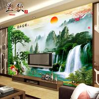 大型电视背景墙壁纸壁画无纺布3d墙纸客厅中式山水画国画流水生财