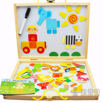 Double-sided magnetic whiteboard fight fight music early childhood cartoon dimensional jigsaw puzzle wooden puzzle area nursery material
