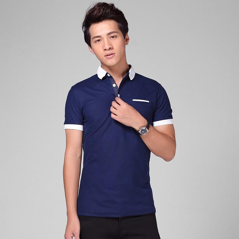 2014热卖 polo衫蓝色纯色黑色男装短袖流行 青春常规白色休闲