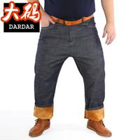 加肥加大码加绒牛仔裤冬装高腰胖子肥佬裤子胖男牛仔长裤300斤4尺