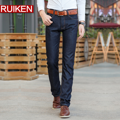 2014 new autumn and winter plus thick velvet jeans men straight Slim Korean business casual denim trousers tide