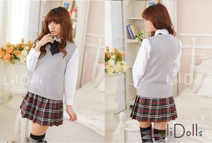 Japan And South Korea Explosion Models Hot Girls School Uniform School Uniform School Uniform Beige Gray Sweater Vest Suit Class Servicettrvvsppnlp From