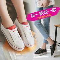 印心鸟2016新款女士休闲鞋 韩版小白鞋女学生平底鞋单鞋系带板鞋